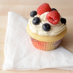Red, White & Blue Cupcakes with Blueberries and Raspberries